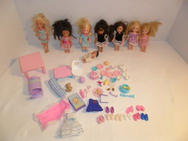Lot of Barbie's Sister Little Kelly Dolls and outfits shoes and more