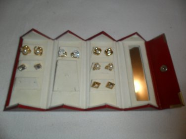 Gold Post Earrings Vintage in red case 6 pairs