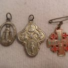 Vintage Lot Of 3 Mini Miraculous Medal of the Virgin Mary Pendant Charm.