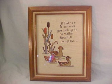 "LARGE FRAMED CROSS STITCH FATHER IS 18"" X 14"""