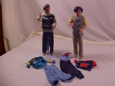 2 VINTAGE KEN BARBIE DOLLS AND CLOTHING 1960'S