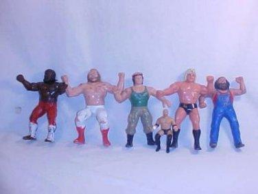 LOT OF 6 WWF WCW WRESTLING FIGURES 1984-85