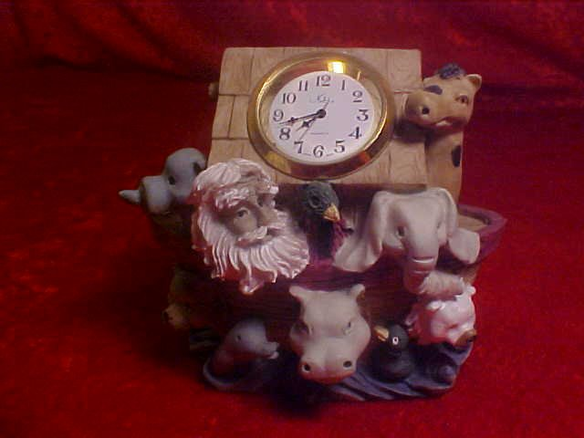 NOAH'S ARK RESIN CLOCK FIGURINE