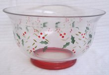 Pfaltzgraff Winterberry Hand Painted Glass Salad Bowl  pleasuresntreasures