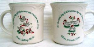 Pfaltzgraff Winterberry Two 12-Days of Christmas Mugs pleasuresntreasures