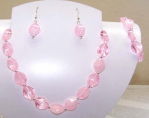 Pink Necklace with Matching Earrings