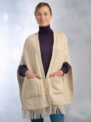 Ladies Irish Knit Wool Shawl