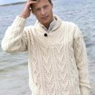 Size Medium Men's Shawl Collar Irish Wool Sweater Natural