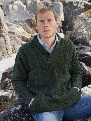 Size XXLarge Men's Shawl Collar Irish Wool Sweater in Green