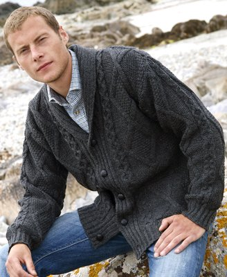 Men's Shawl Collar Wool Cardigan Size Medium ~ Made in Ireland