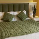 Aran Two Toned Irish Wool Throw in Green