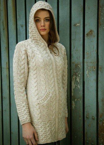 Aran Irish Wool Sweater Hooded Zipper Coat in Natural Size Large