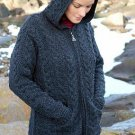 Aran Irish Wool Sweater Hooded Zipper Coat in Charcoal Size Large