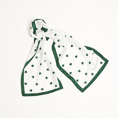 Long White Scarf With Shamrocks