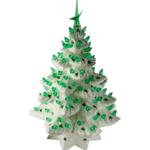 Light Up Ceramic Christmas Tree With Shamrock