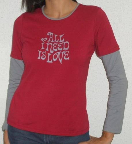 �All I need is Love� tee (dark red/grey)