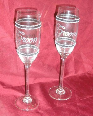 Gay Wedding GROOM/GROOM Same Sex CHAMPANGE FLUTES