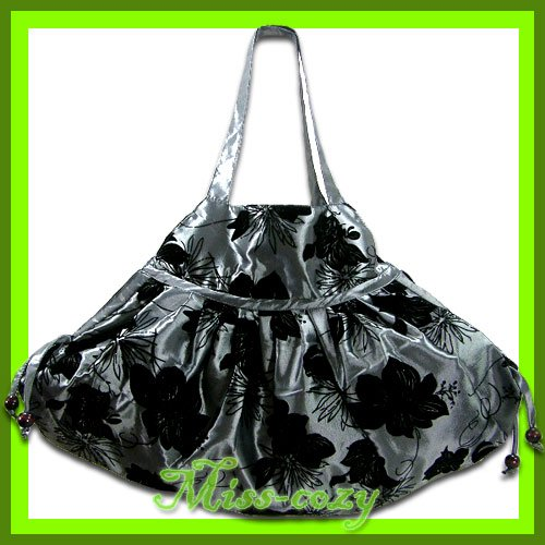 THAI SILK SHOULDER BAG HANDBAG SILVER BIG FLORAL HOBO / B113