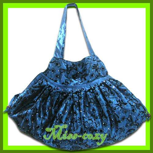 THAI SILK VELVET HAND SHOULDER BAG BLUE FLORAL HOBO / B120
