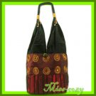 THAI SILK EMBROIDERED SHOULDER BAG BURGUNDY HOBO B127
