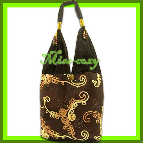 THAI SILK SHOULDER BAG BROWN EMBROIDERED TOTE HOBO / B147