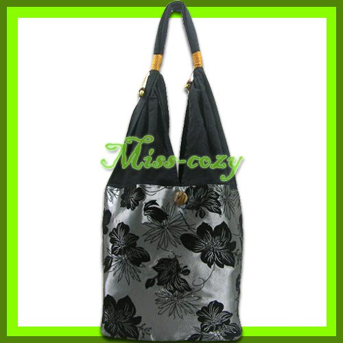 THAI SILK SHOULDER BAG GRAY-SILVER BIG FLORAL TOTE HOBO / B141
