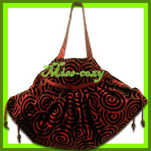 THAI SILK SHOULDER HAND BAG BURGUNDY HIPPIE GYPSY / B107