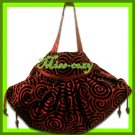 THAI SILK SHOULDER HAND BAG BURGUNDY HIPPIE GYPSY / B107