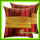 2 THAI SILK THROW CUSHION CASE PILLOW COVER RED / 1107
