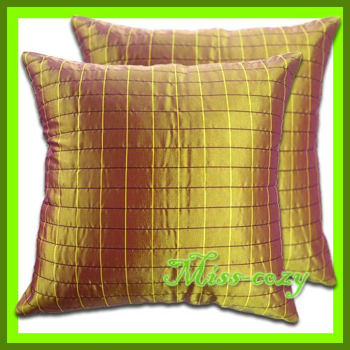 2 THAI SILK THROW CUSHION CASE PILLOW COVER GOLD / 1109