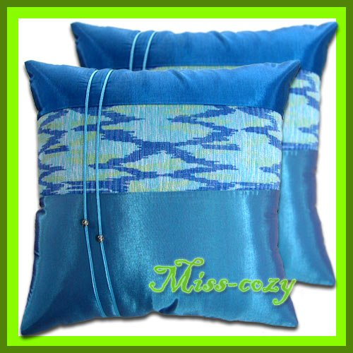 2 THAI SILK THROW CUSHION PILLOW COVER BLUE AQUA / 1201