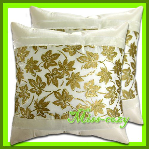 2 THAI SILK CUSHION PILLOW COVER IVORY/GOLD FLORAL / 1171