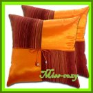 2 THAI SILK THROW CUSHION CASE PILLOW COVER ORANGE / 1114