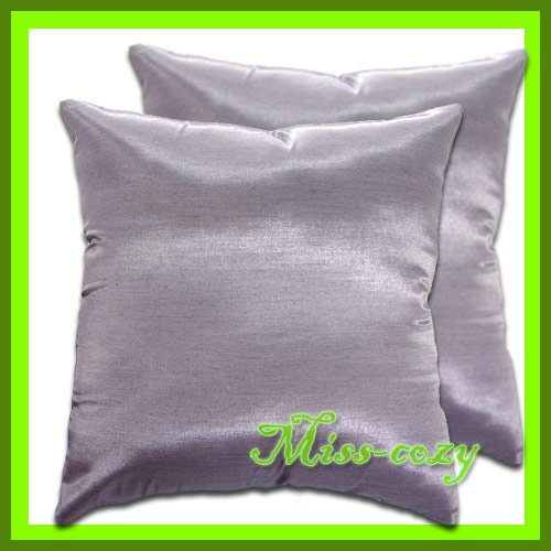 2 THAI SILK THROW CUSHION CASE PILLOW COVER PURPLE / 1123