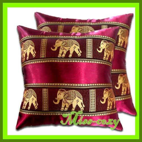 2 THAI SILK CUSHION CASE PILLOW COVER ELEPHANT RED / 1135