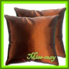2 THAI SILK THROW CUSHION CASE PILLOW COVER BROWN / 1148