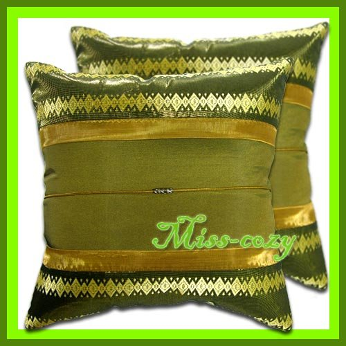 2 THAI SILK CUSHION CASE PILLOW COVER GREEN/GOLD / 1159