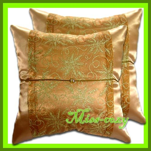 2 THAI SILK CUSHION CASE PILLOW COVER BROWN FLORAL / 1207