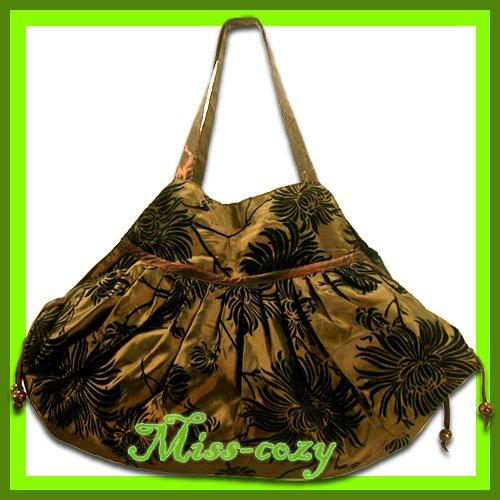 THAI SILK HAND SHOULDER BAG BROWN FLORAL VELVET  TOTE HOBO / B102