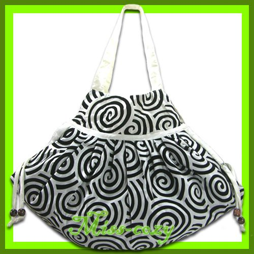 THAI SILK SHOULDER HAND BAG WHITE GYPSY HIPPIE HOBO / B105