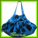 THAI SILK SHOULDER BAG BLUE BIG FLORAL HIPPIE TOTE HOBO / B112