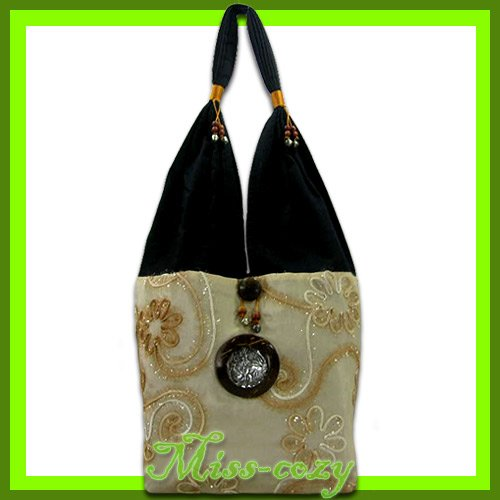 THAI SILK SHOULDER BAG HOBO IVORY ELEPHANT TOTE / B152