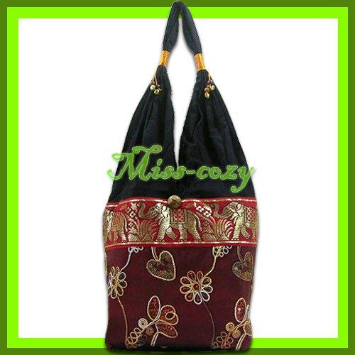 THAI SILK SHOULDER BAG HOBO MAROON EMBROIDER TOTE / B154
