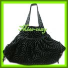 THAI SILK SHOULDER HAND BAG BLACK GYPSY HIPPIE HOBO / B104