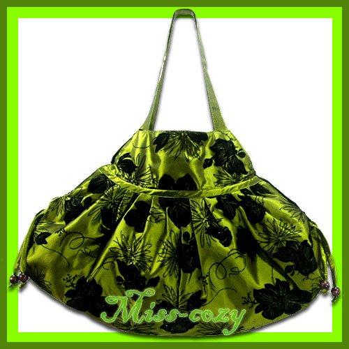 THAI SILK SHOULDER BAG GREEN BIG FLORAL VELVET HOBO / B114