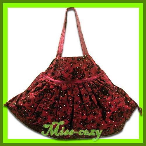 THAI SILK HAND SHOULDER BAG RED BLINK HIPPIE GYPSY HOBO / B125