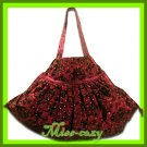 THAI SILK HAND SHOULDER BAG RED BLINK HIPPIE GYPSY HOBO / B125