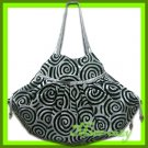 THAI SILK HAND SHOULDER BAG GREY-SILVER VELVET TOTE HOBO / B108