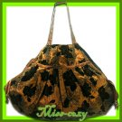 THAI SILK SHOULDER BAG BROWN BIG FLORAL HIPPIE HOBO / B111