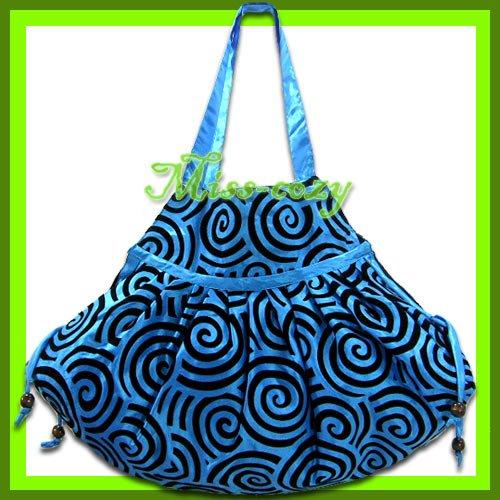 THAI SILK SHOULDER HAND BAG BLUE HIPPIE GYPSY TOTE HOBO / B106